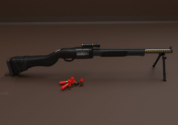 Shotgun Type with Shells 3D model  Gun type Shotgun