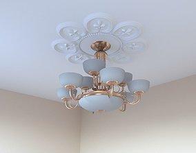 Chandelier in Art Nouveau style with ceiling decor 3D