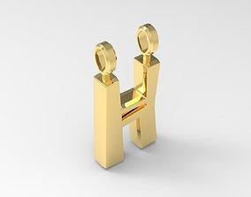 3D printable model H Letter Pendant Gold