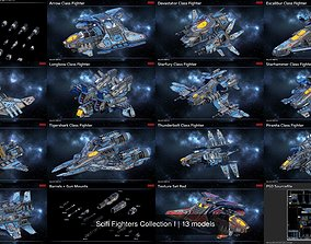 Scifi Fighters Collection I 3D model PBR