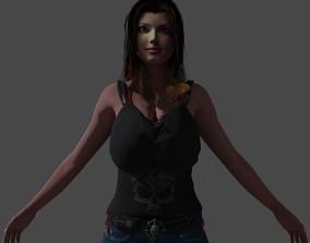 3D model Mona girl ready to be used in games rigged