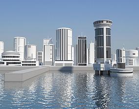 Low Poly Modern Building Set 01 3D