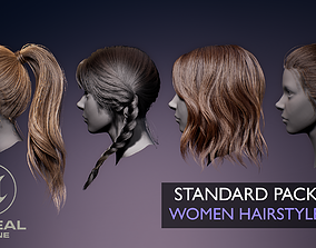 3D asset Real-time Women Hairstyles - Standard Game Pack