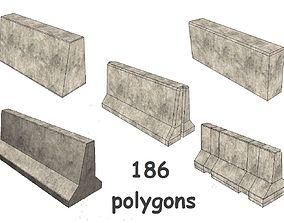3D model Concrete barriers collection