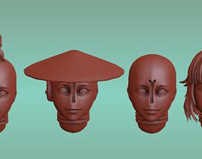 3D printable model Female Tau firewarrior Head Set 1
