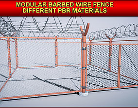 3D model Modular Barbed Wire Fence with different PBR