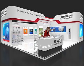 Exhibition stall 3d model 75 sq mtr 2 sides open Hitachi