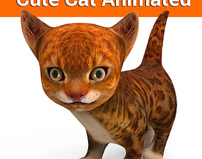 animated realtime 3D cute kitten cat animated model
