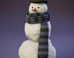 VR / AR ready Snowman Realistic 3D Model