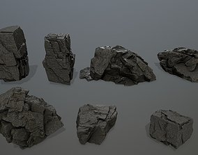 cliff rock set mountain 3D asset realtime
