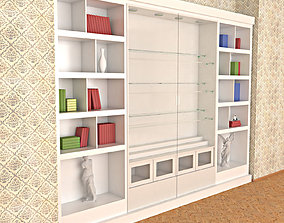 Wooden White Painted Bookshelf - Collector shelf 3D model
