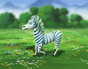 3D cartoon zebra