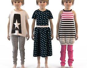 3D Group of children child boy girl playroom childrens