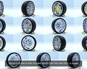 ORTAS CAR RIM 15 AND 16 GAME READY RIM TIRE AND DISC 3D