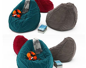 3D model bed Pouf collection