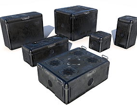 Sci Fi old grey cargo crates 3D model