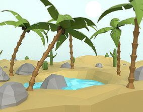 3D model game-ready Low Poly Oasis