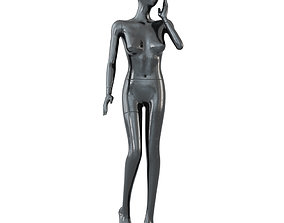 3D model Female black mannequin in a standing pose 59
