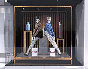 Shop front with female mannequin 001 sweater 3D model