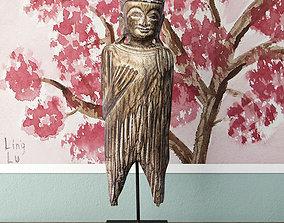 Albesia Wood Buddha Decoration 3D model