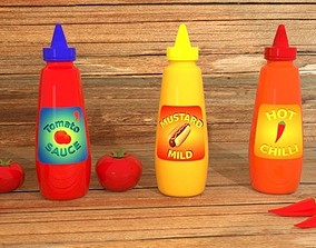 3D model Sauce Bottles with Labels