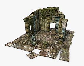 3D model realtime Jungle ruins with ivy