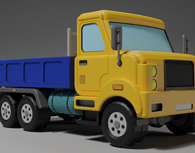 3D asset Low poly flatbed truck