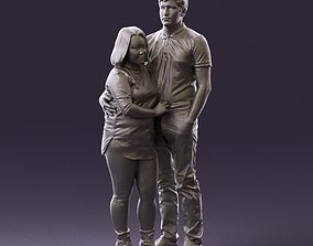 000985 Man in dark blue hug asian woman 3D Print Ready
