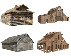 3D Old Wooden village house collection