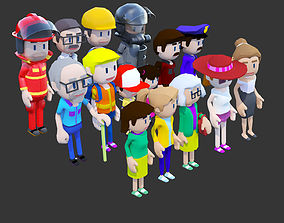 3D asset animated Complete Low Poly People