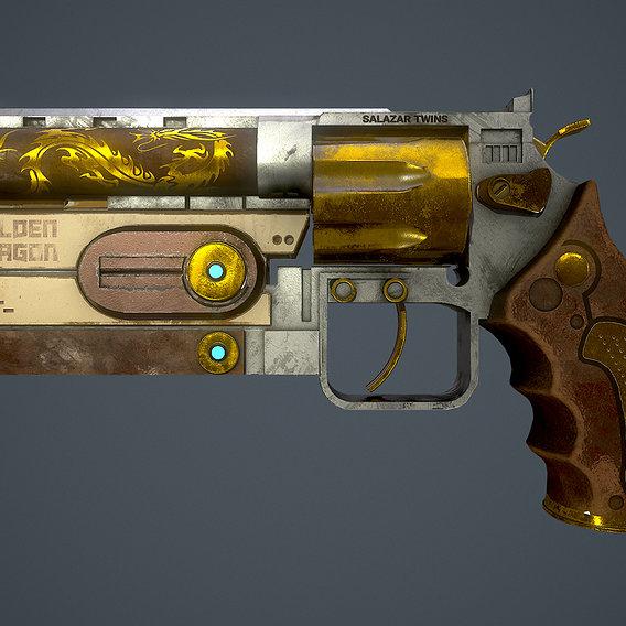 Game Ready PBR Revolver ( Golden Dragon )