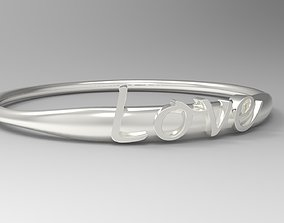 Love Ring with Silver Polished 3D printable model