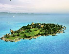 3DMAX model Island Castle Golf Course