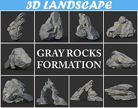 3D model Low poly Gray Rock Formation Pack A-190421