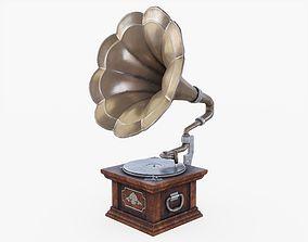 Gramophone 3D asset low-poly
