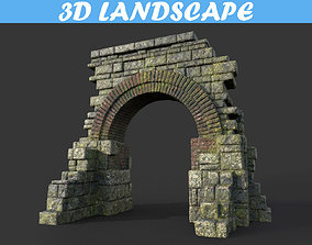 Low poly Mossy Ruin Temple Gate 01 181119 3D asset