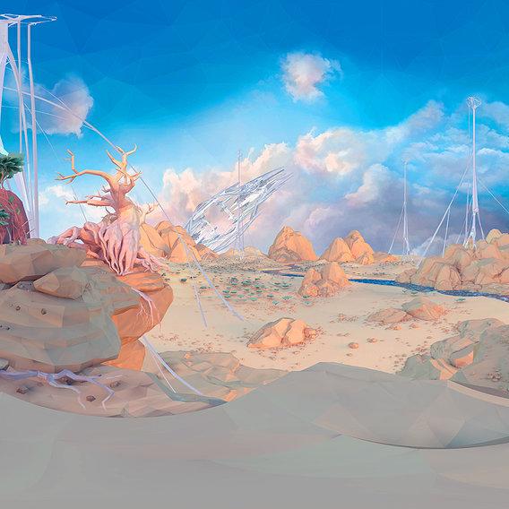 Low Polygon Art Level Sahara Africa VR / AR / low-poly 3D model