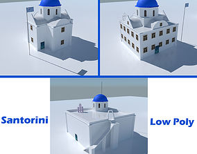 Blue Dome Church in Santorini 3D asset
