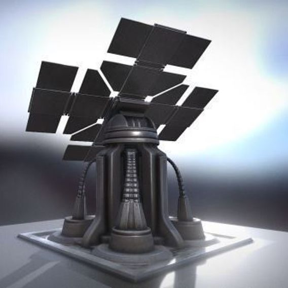 Futuristic Solar Power Tower Rigged 3D Model