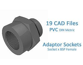 PVC Adaptor Sockets - Socket x BSP Female - 3D