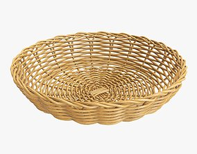 Wicker basket tray medium brown 3D model