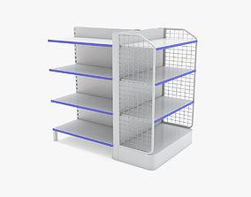 3D model Supermarket Double Shelves 3