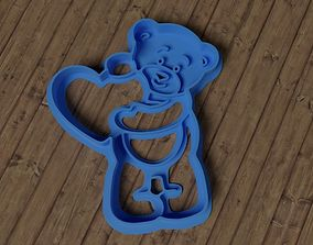 3D printable model Bear With Heart cookie cutter