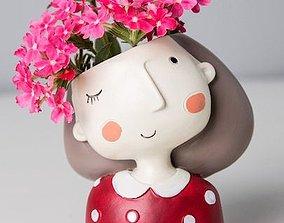 Decoration Planter Pot Cute Girl 4 stl for 3D