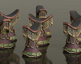 Headrest Africa Wood Furniture Prop 36 3D model