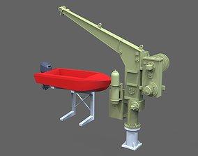 3D print model Davit with boat for NORDIC Graupner