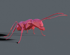 low poly ant for motion graphics 3D model