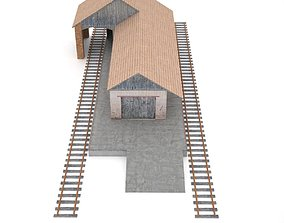 Freight Train Station 3D model