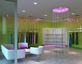 3D model Woman Store Shop Interior with Clothes