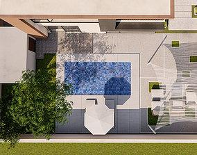 3D backyard pool design of luxury house